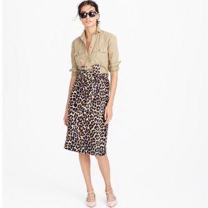 J. Crew Leopard Tie-Waist Skirt in Leopard